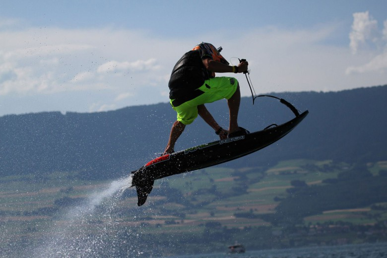 The JetSurf has a gas engine and provides about four hours of surfing on its battery.