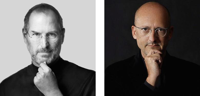 Steve Jobs and a new fake Steve Jobs, aka Samsung marketing VP Georg R. Rötzer.