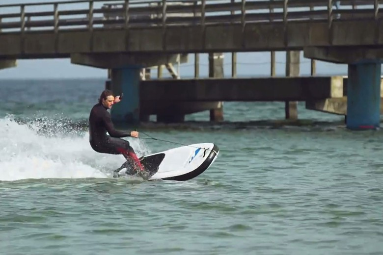 The Lapugna Air is an inflatable board with an electric motor.