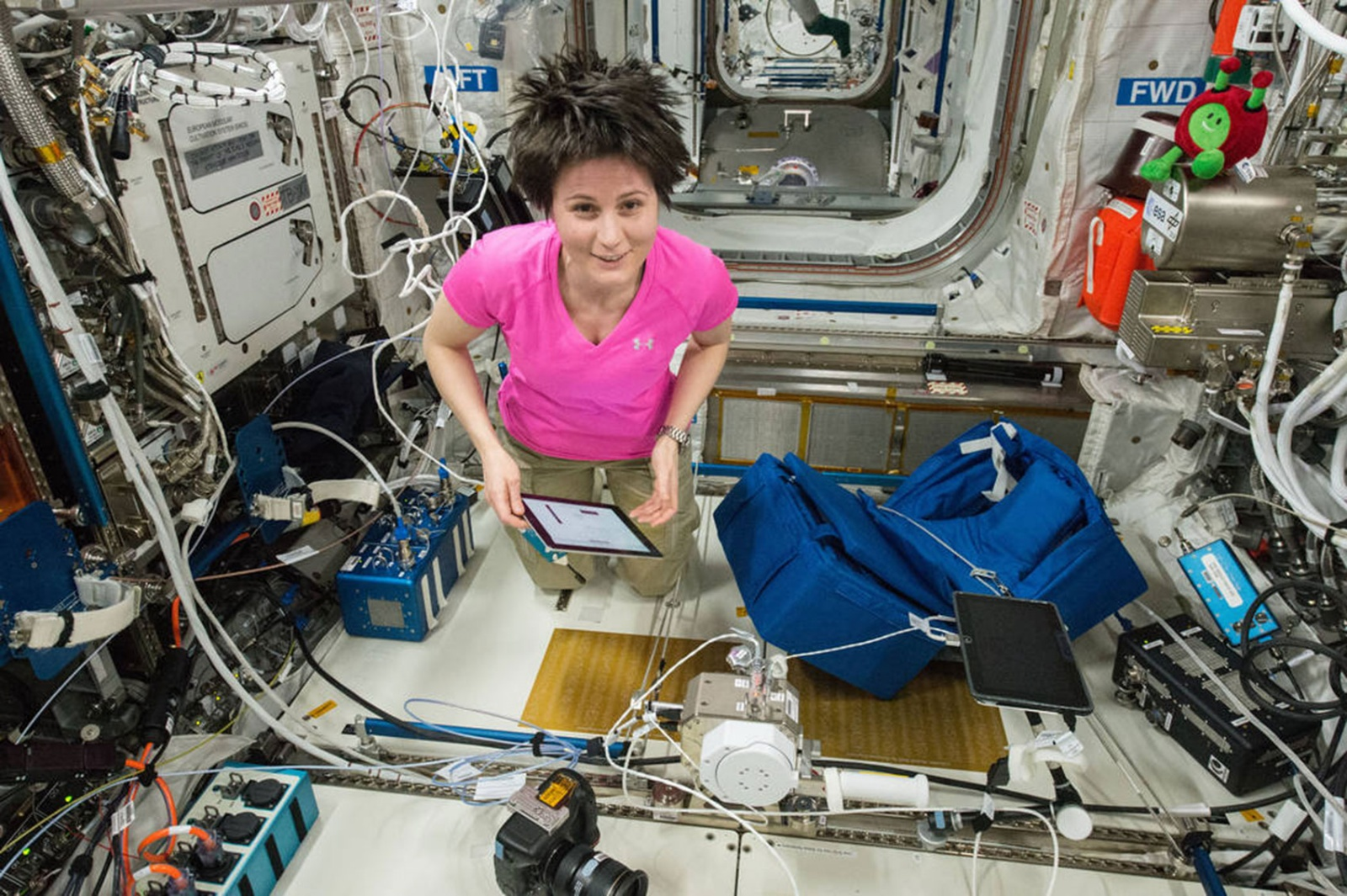 ESA astronaut Samantha Cristoforetti worked with iPad during a recent mission on the International Space Station. NASA wants astronauts to start using smartwatches for some of their tasks.