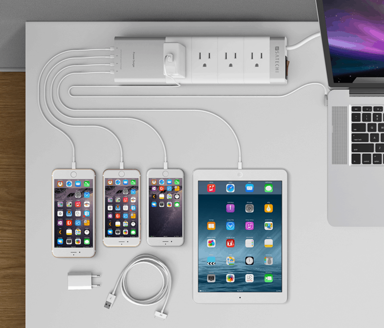 Satechi's aluminum power strip provides one elegant charging home for your devices.