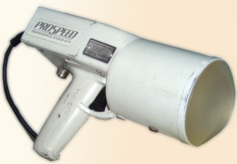An early radar gun used by a Dodgers scout during the 1970s.