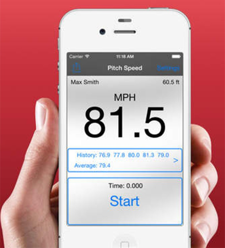 The iTunes store has apps for recording pitch speeds.