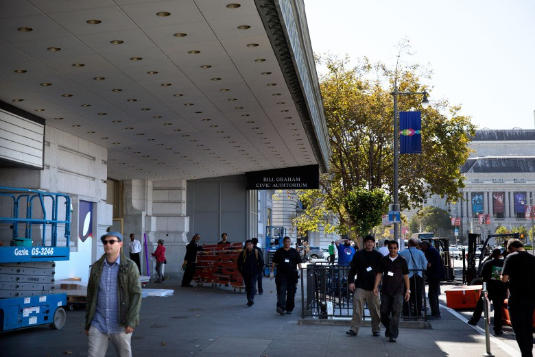 Preparations are afoot outside the Bill Graham Civic Auditorium.