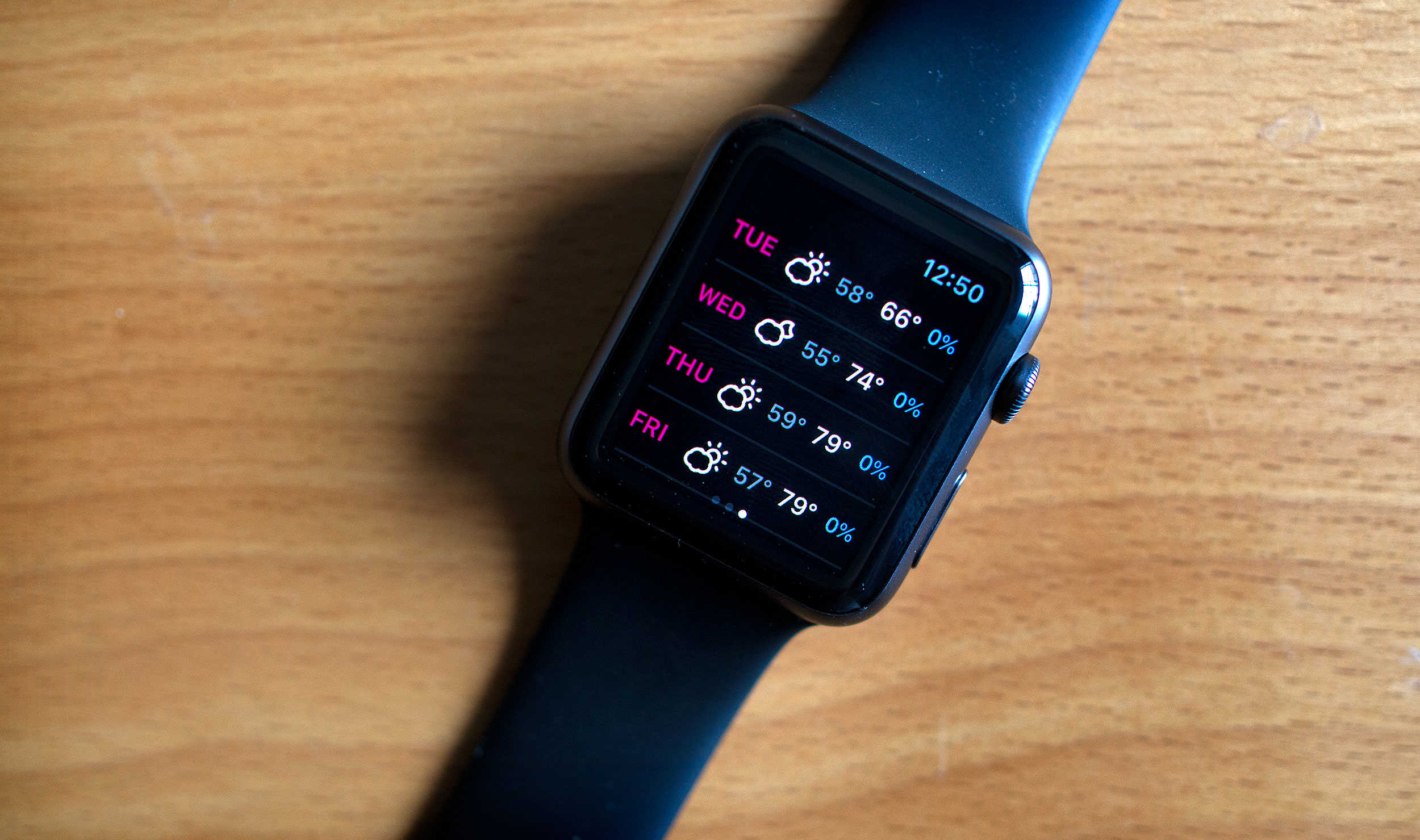 Native apps, like Dark Sky, take advantage of the new OS for Apple Watch.