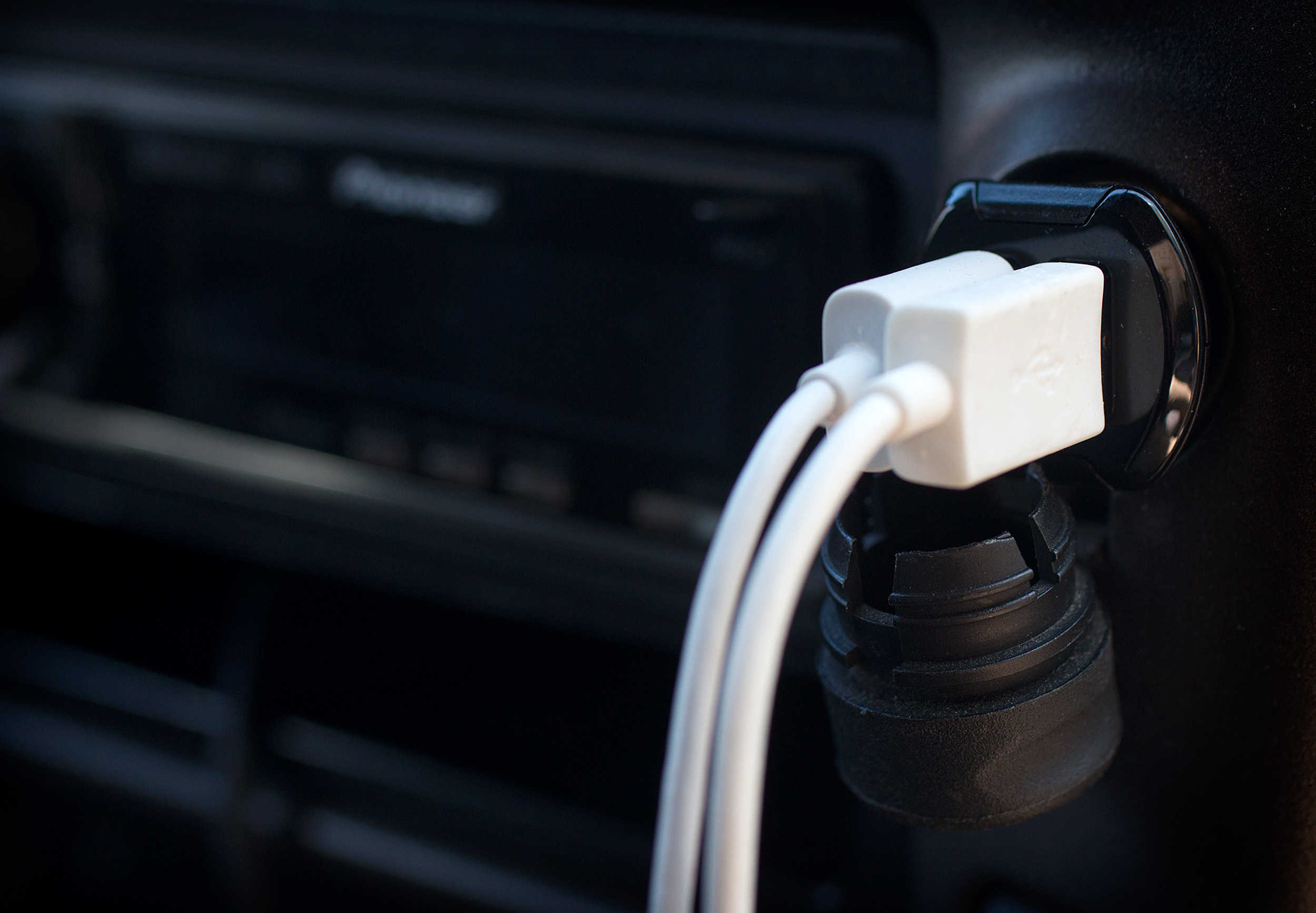 The flush-mount reVOLT car charger tidies up any dashboard.