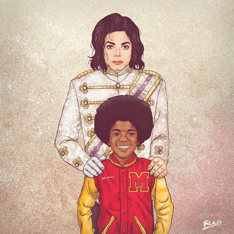 Young and older Michael Jackson, the king of pop.