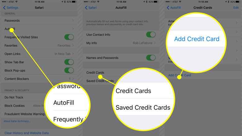 Use your own contact info to fill out web forms; manage credit cards. iPhone setup