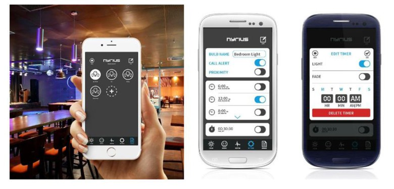 The Nyrius app lets you control up to eight bulbs in your home or office setting.