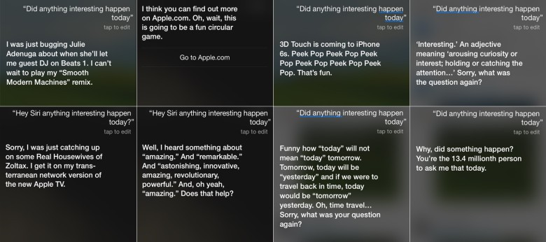Siri responds to today's event on the iPhone