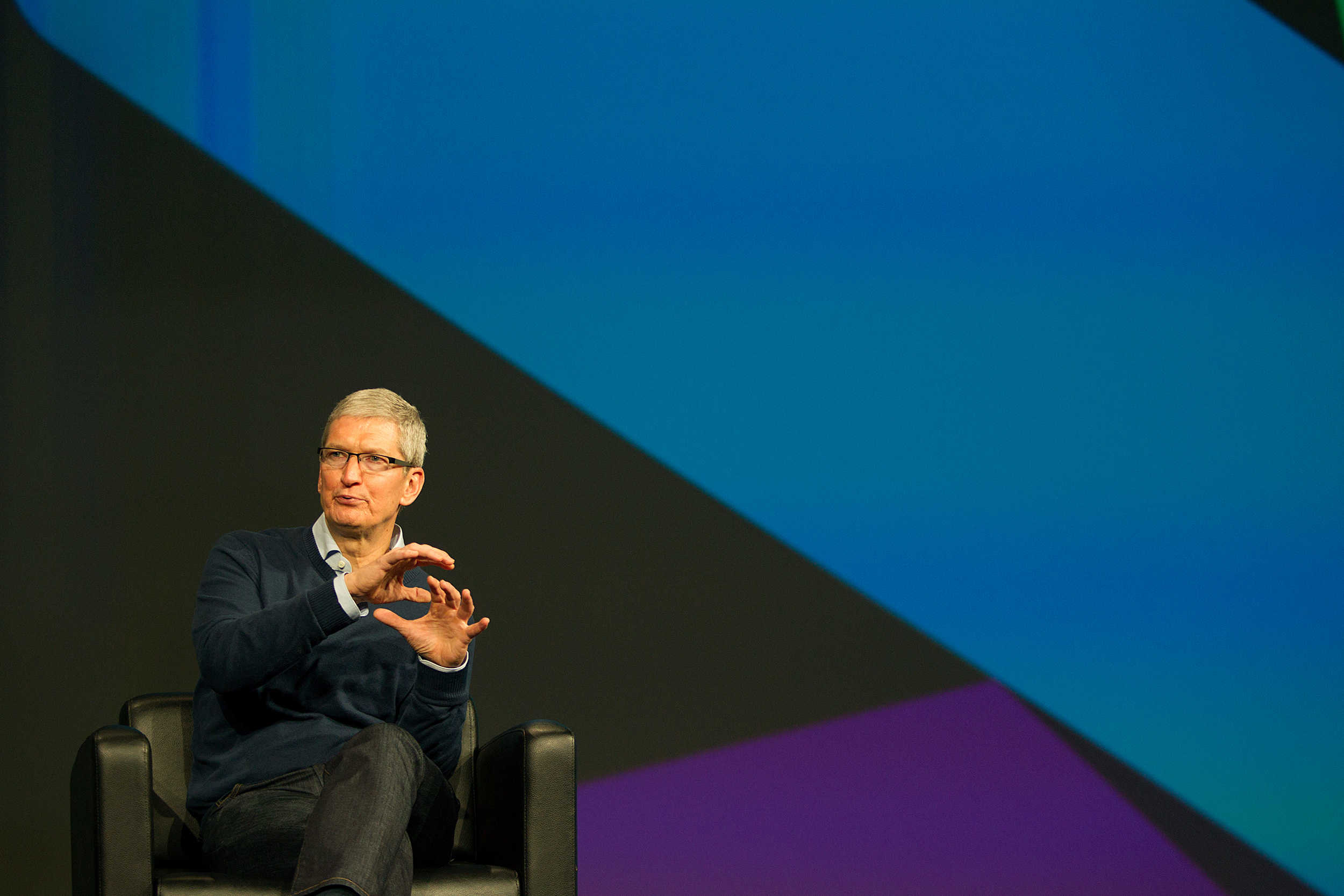 Tim Cook discusses Apple's enterprise ambitions at BoxWorks in San Francisco, September 2015.