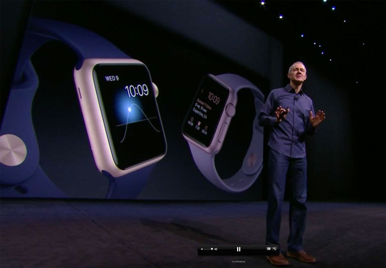 Jeff Williams, Apple's senior vice president of operations, shows off new versions of Apple Watch coming soon.