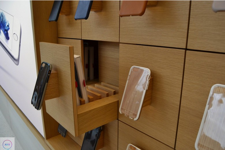 Wooden draws store products but also serve to keep packaging out of sight.