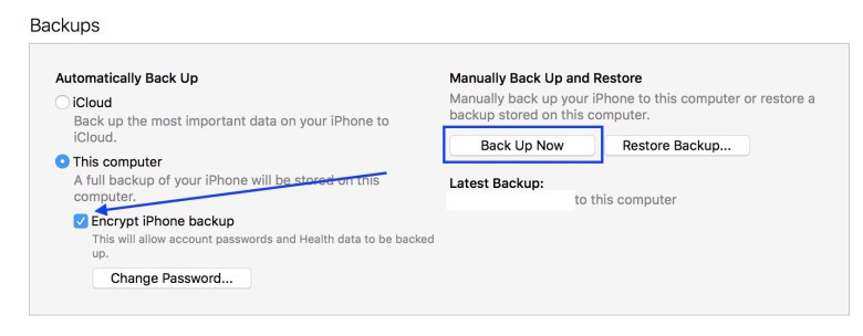 Choose this option to backup sensitive information.