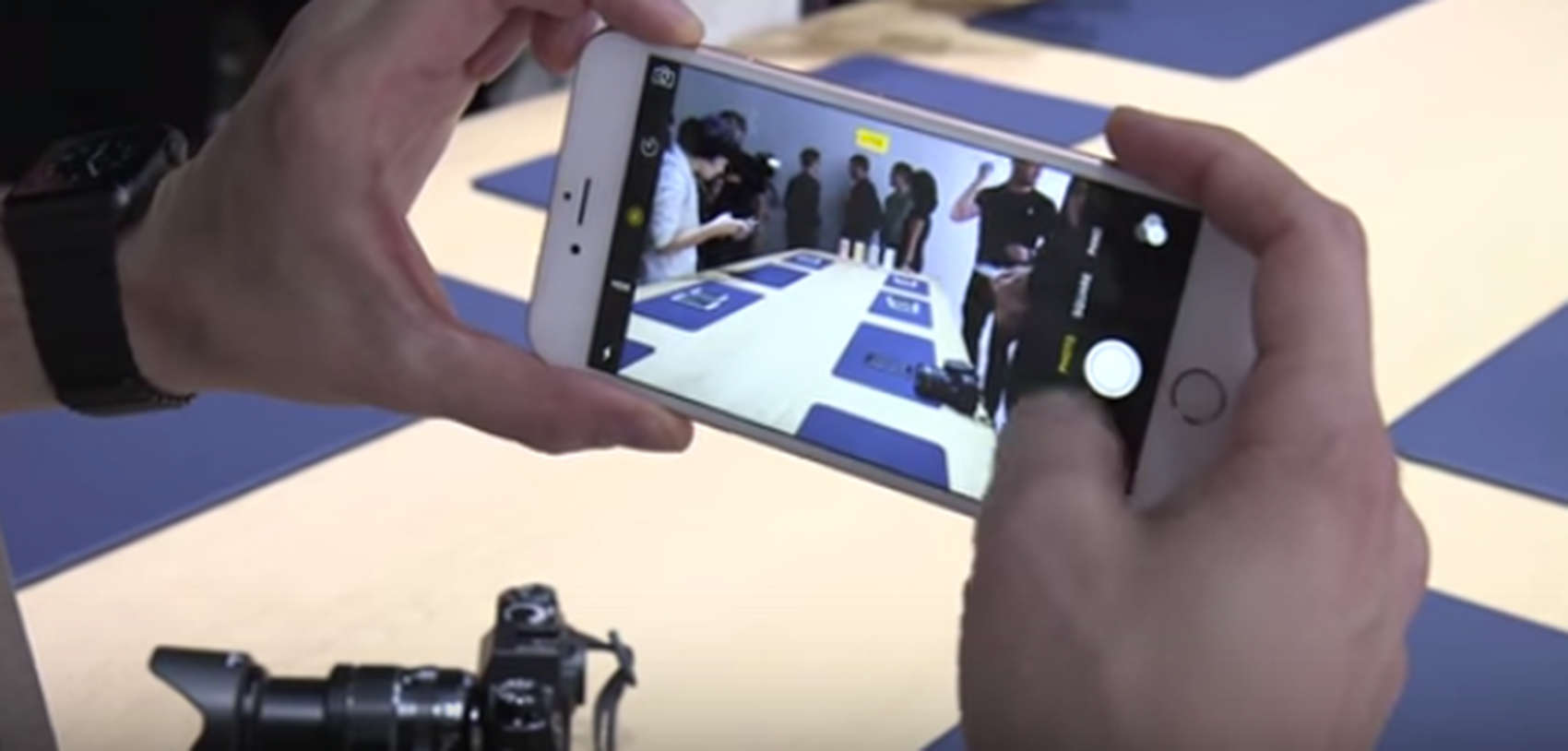 The new iPhone 6s in the hands of journalist during Apple's September event Wednesday.