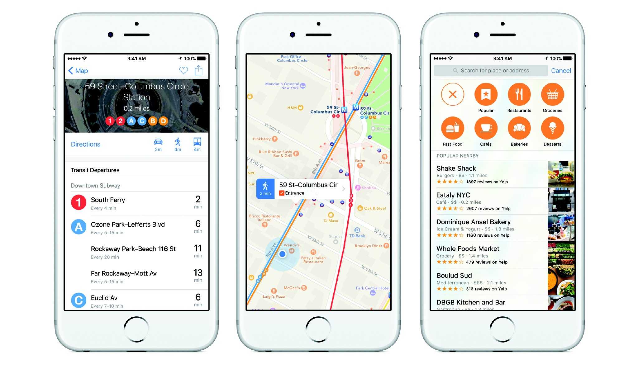 iOS 9 transit maps