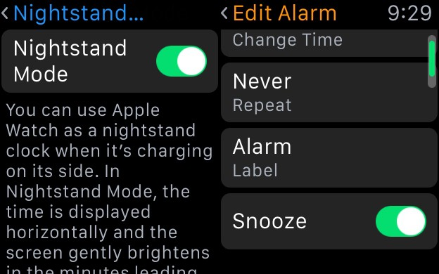 Enable Nightstand mode in General and Snooze in the Alarm app itself.