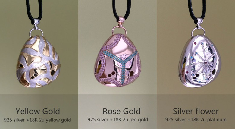 Some of the higher-end Miragii pendants in gold and silver.