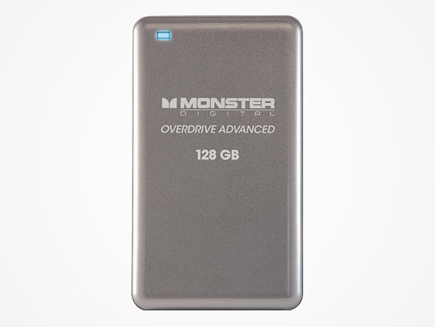 Monster's 128 gigabyte flash storage drive is sleek, lightweight, capacious, and secure.