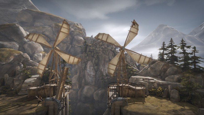 Solve puzzles like this windmill one using the special abilities of each brother.
