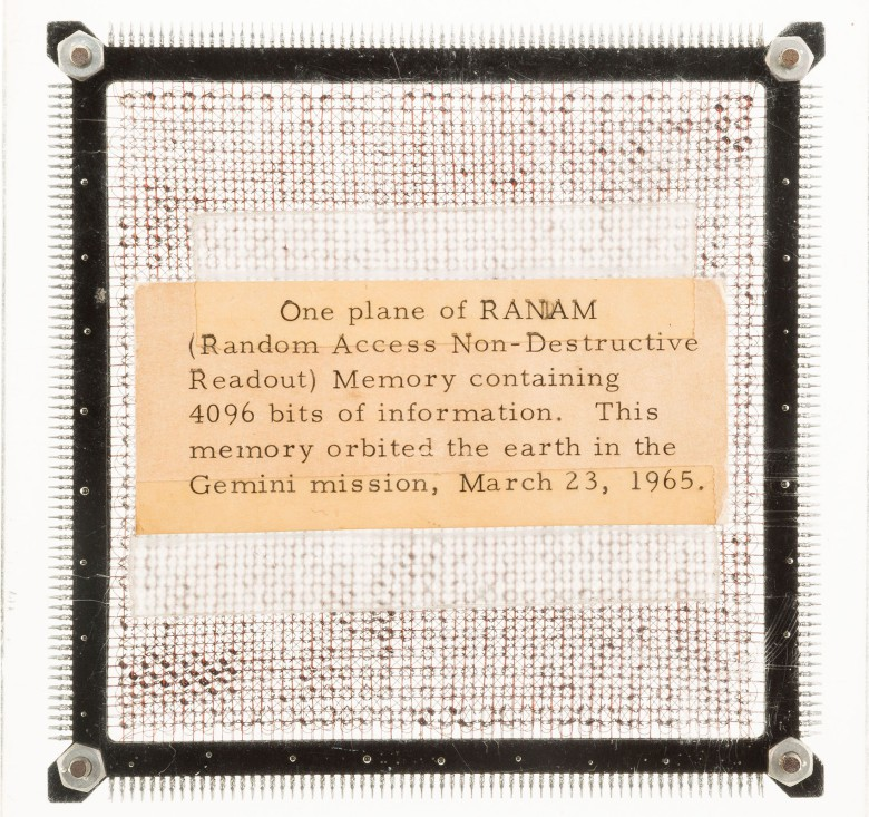 This computer chip is from the first computer ever used in a spacecraft.