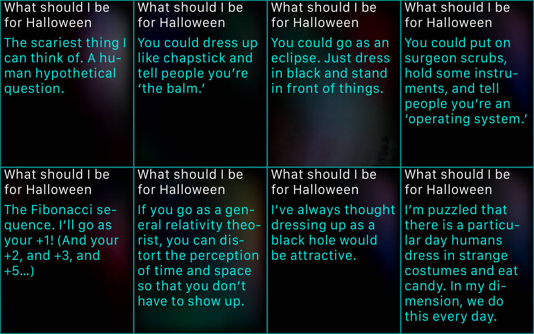 Out of Halloween costume ideas? Just ask Siri