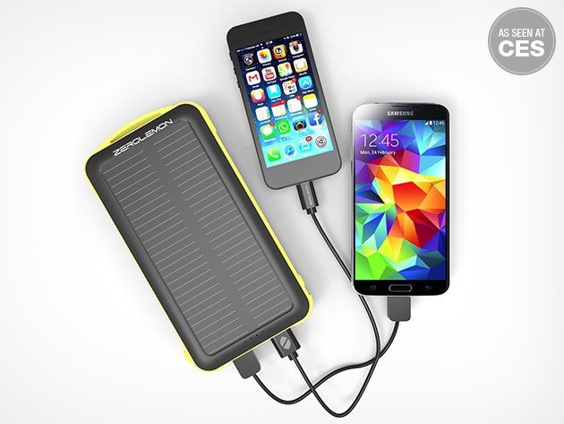 The SolarJuice 20,000 mAh portable battery can charge two devices at once, powered by a wall outlet or the sun.