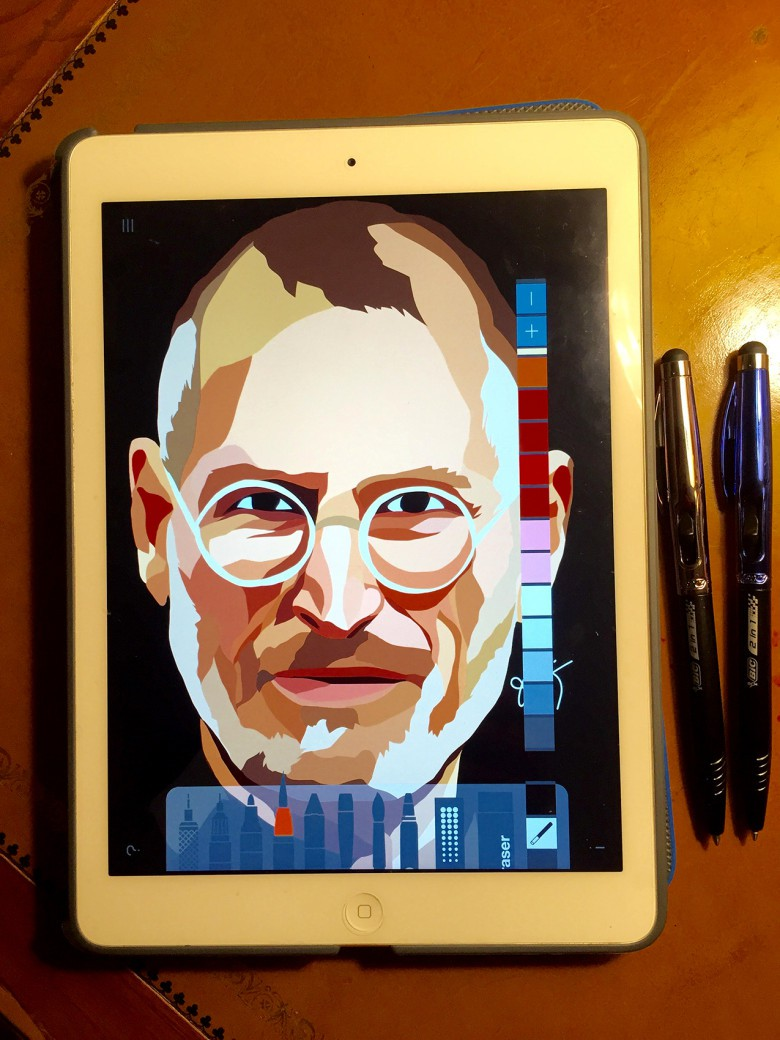 The iPad Air is the canvass while the tools include a stylus (sorry Steve) and the free app Drawing Desk.