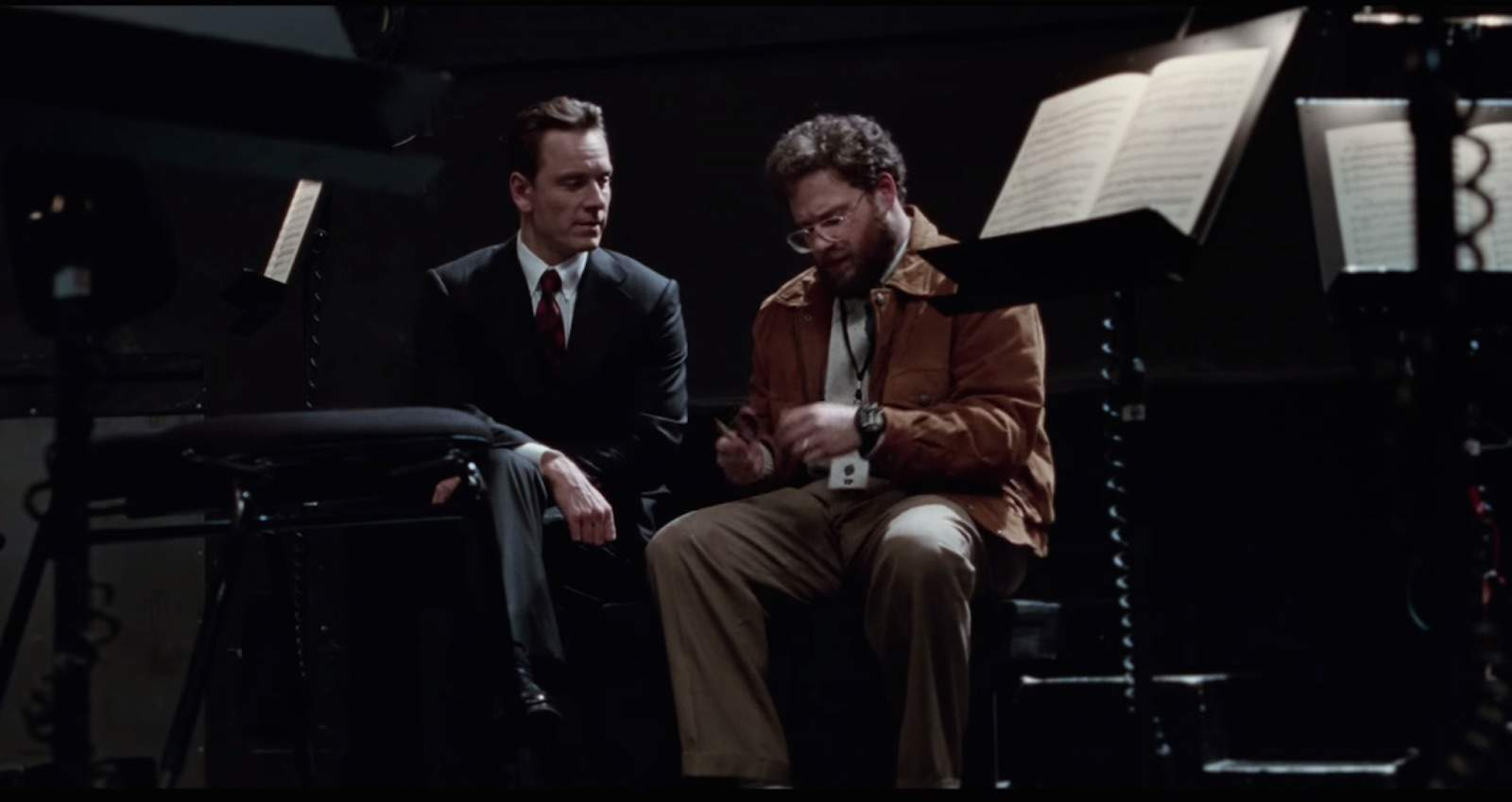 Steve Jobs (played by Michael Fassbender) and Steve Wozniak (Seth Rogen) before a NeXT keynote in a scene from Steve Jobs.
