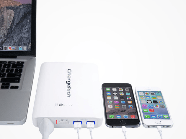 The ChargeTech Portable Power Outlet means you'll never be without an outlet for your laptop, phone or tablet.