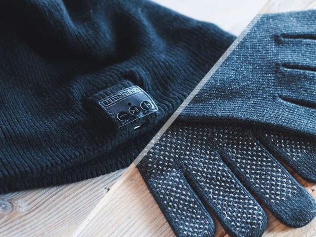 This beanie includes a bluetooth transmitted and mic, and the gloves are touchscreen-compatible, meaning  you can listen to music and take calls while staying warm.