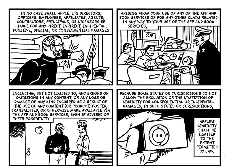 Terms and Conditions n the style of Dick Tracy creator, Chester Gould.