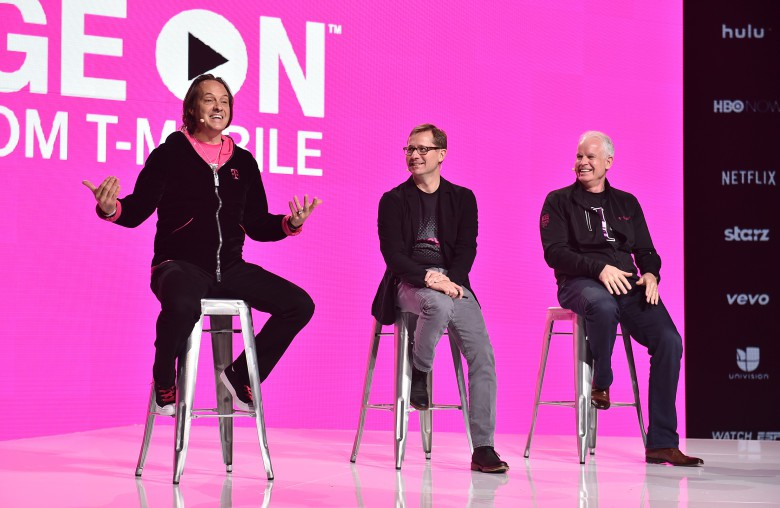 T-Mobile CEO John Legere answers questions at an event in Los Angeles.