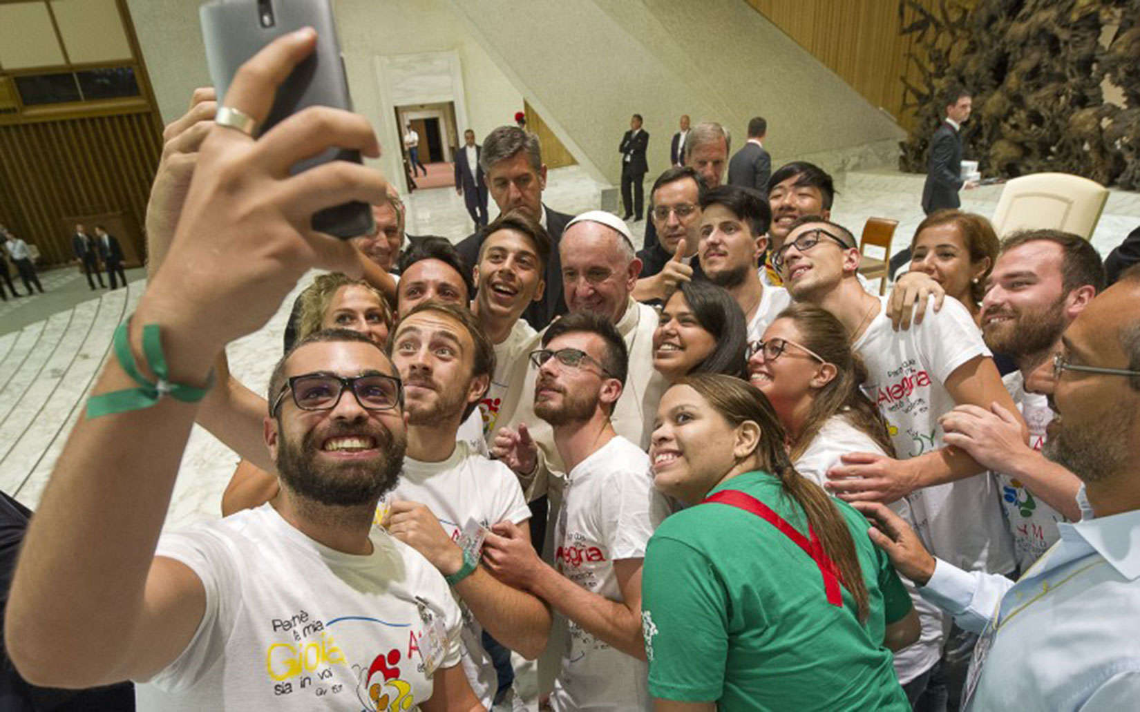 Pope Francis welcomes the presence of smartphones - but not at dinner.