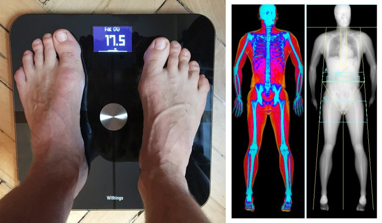 Withings Smart Body Analyzer (left) vs. DEXA, the