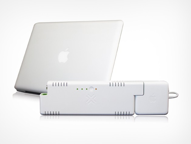 The ChugPlug acts like a portable wall outlet, extending your Macbook's life by 3 to 4 hours.