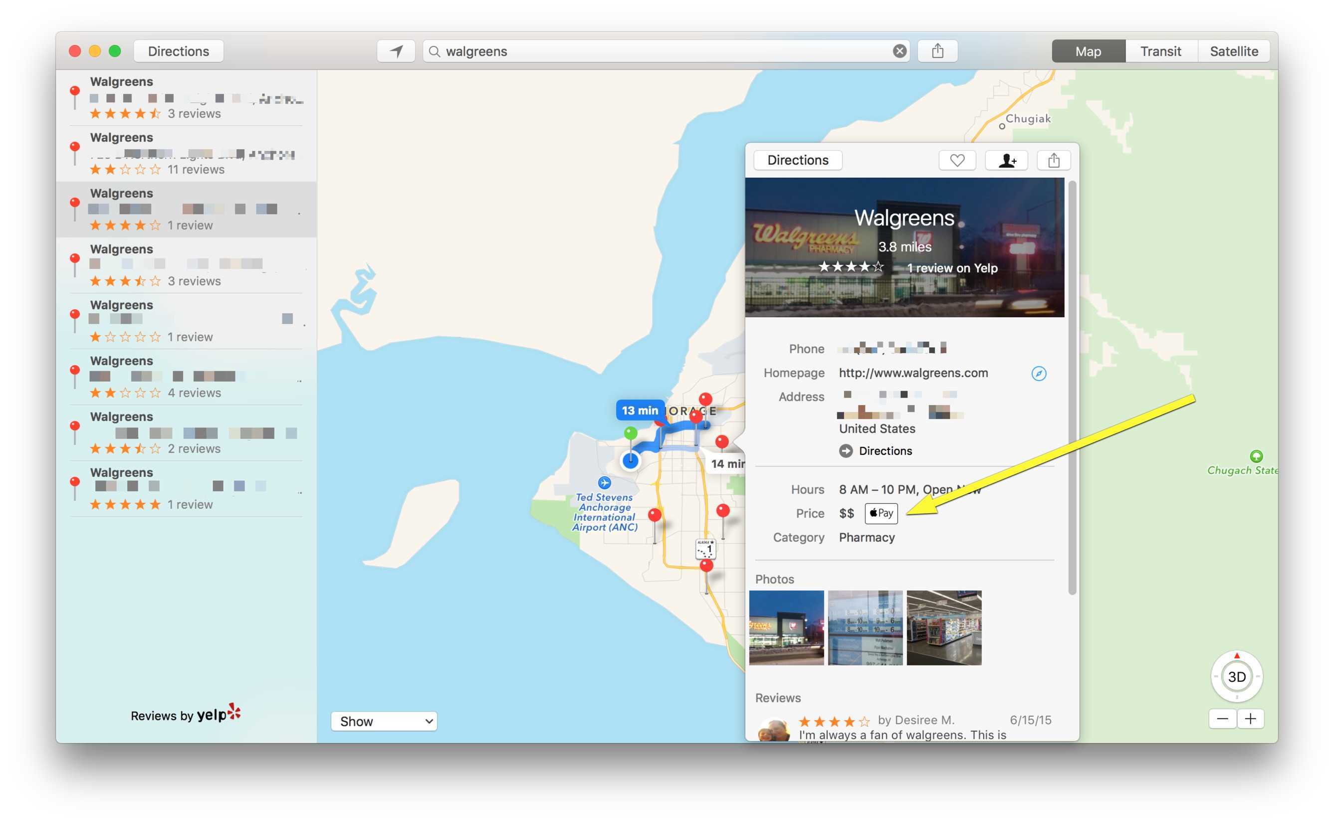 Pro tip quick way to find stores that take apple pay cult of mac os x maps lets you see apple pay information easily gumiabroncs Gallery