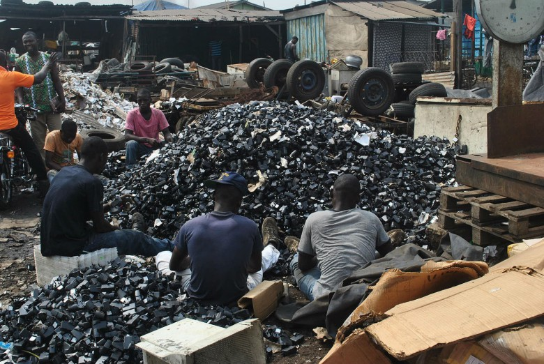 Loads of mobile phones end up in Ghana, where they may or may not be recycled properly.