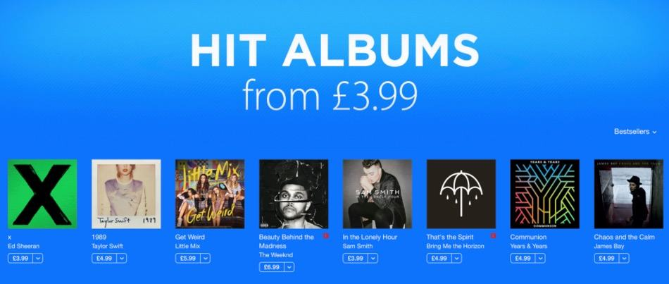 iTunes is throwing a Boxing Week music sale.