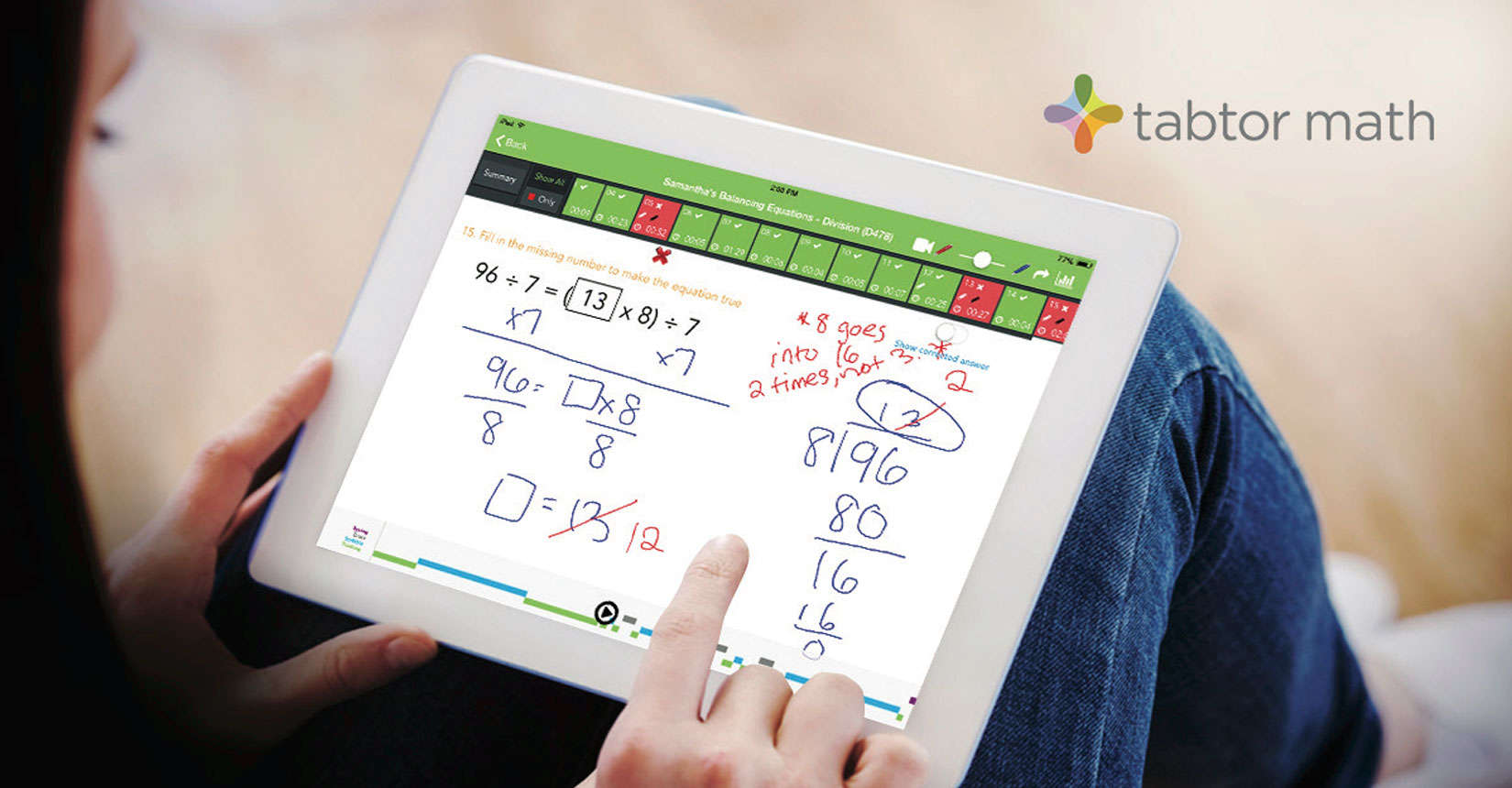 The Tabtor Math app doesn't leave you alone with your iPad. A personalized tutor is assigned to each student.