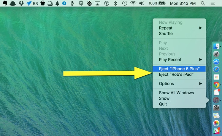 Right-click to iPhone eject freedom.