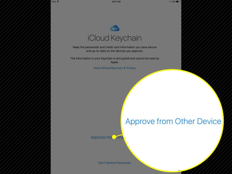 Restore your saved passwords with iCloud Keychain.