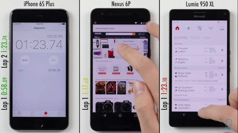 iPhone 6S Plus, Nexus 6 p and Lumia 950 XL: Which Is Fastest?