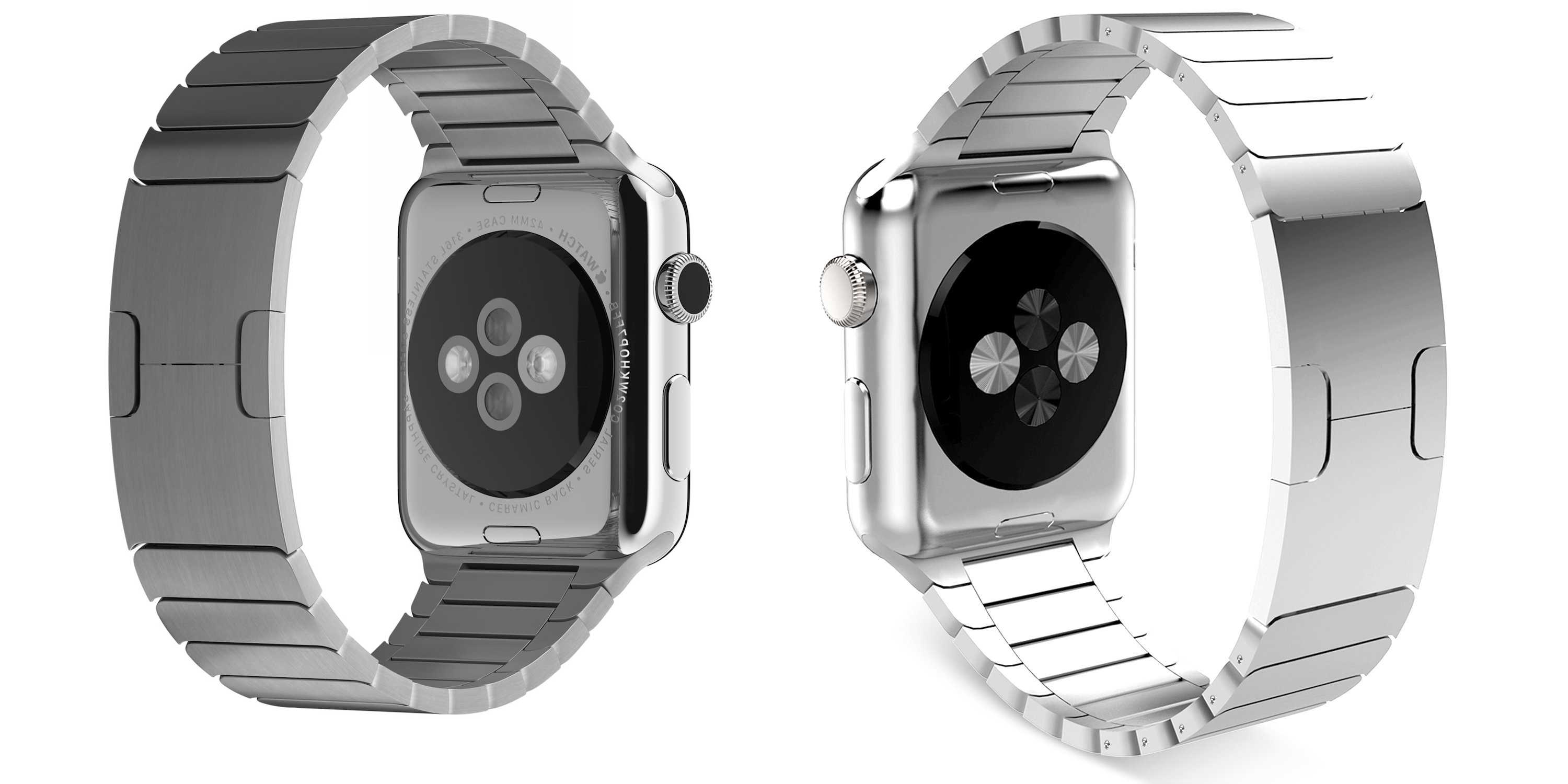 Spot the difference. On the left is Apple's $450 Link Bracelet for Apple Watch. On the right, a $90 knockoff that gets 4.5 stars on Amazon.