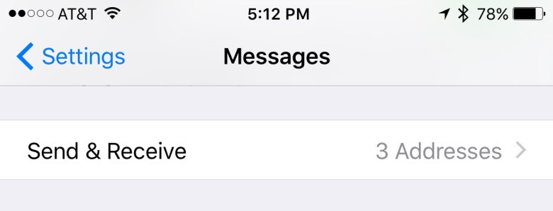 Send & Receive in Messages Settings.