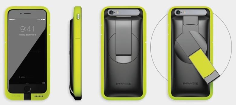 The AMPWare case comes in three colors, including bright green.