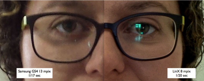 This enlarged portrait shows a difference in quality from the iPhone 5s, left, and a dual-camera system created by LinX Imaging.