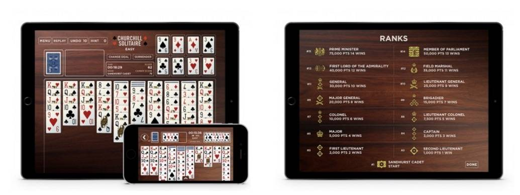 Donald Rumsfeld's first iPhone game is a version of solitaire played by Winston Churchill.