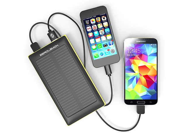 ZeroLemon makes it possible to charge two devices at once with the power of the sun.