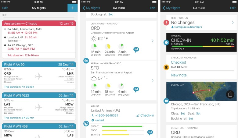 For flight tracking, security wait times, and more, check out App in the Air.